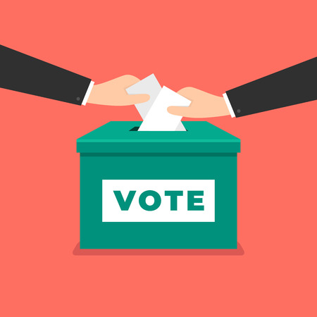 Businessman hand putting voting paper in the ballot box. Voting concept in flat style. Illustration