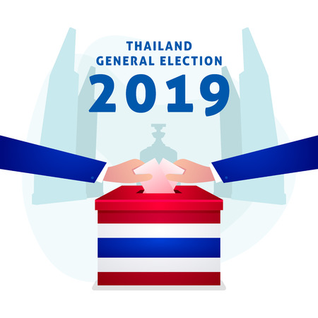 Thai General Election 2019, Hand Putting Voting Paper in the Ballot Box. 矢量图像