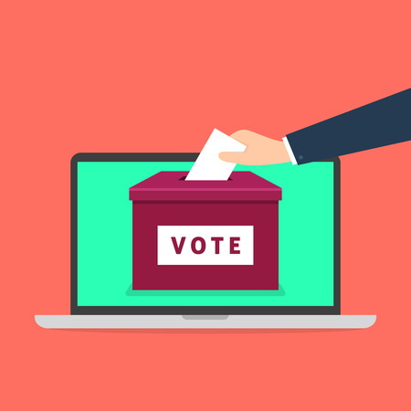 Hand putting voting paper in the ballot box on a laptop screen. Voting online concept.