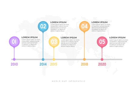 Business timeline with world map background infographic template.