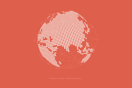 Simple Globe shape, World map created from dots on orange background. Global connection concept.  イラスト・ベクター素材