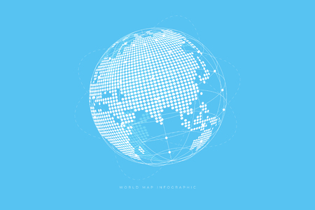 Simple Globe shape, World map created from dots on blue background. Global connection concept.
