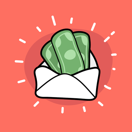 Money in envelope doodle icon. Finance wealth banking.