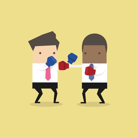 Two businessmen wearing boxing gloves fighting. Ilustração