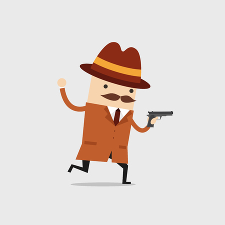 The detective ran with a gun in his hand. Police detective and inspector cartoon.