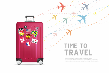 Time to travel. Traveling luggage bag banner template. Travel and tourism concept. Vettoriali