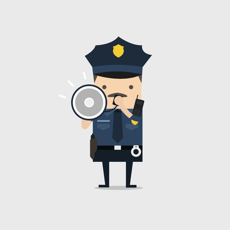 Police officer character in a blue uniform shouting using megaphone. Policeman character at work.