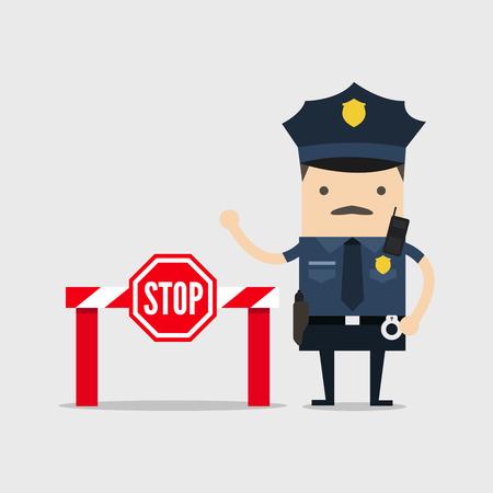 Policier avec panneau d'arrêt et pas d'entrée.