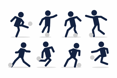 Set of football or soccer player, Footballer actions poses stick figure.