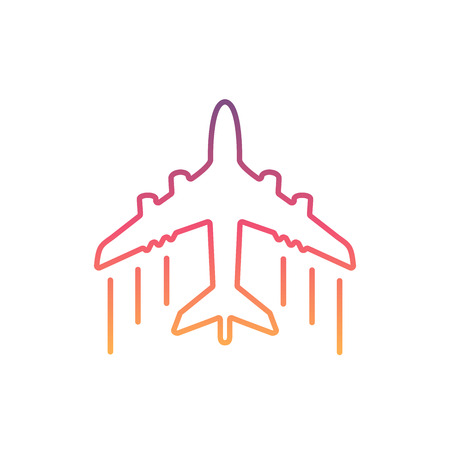 Colorful Airplane line icon.