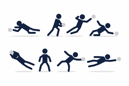 Set of football or soccer player, Goalkeeper actions poses stick figure.