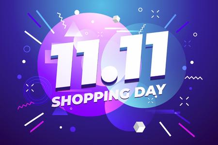 11.11 Cartel de venta de día de compras o diseño de volante. Venta de día mundial de compras global en colores de fondo. 11.11 Ventas locas en línea. Ilustración de vector