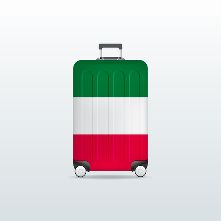 Travel luggage bag with Italy flag. Realistic suitcase. 일러스트