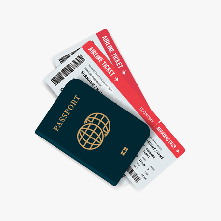 Airline tickets and passport. Passport with boarding passes tickets for traveling by plane. Vector Illustration