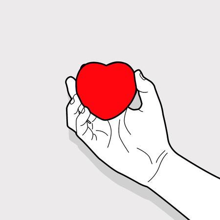 Hand outline holding red heart symbol. Vettoriali