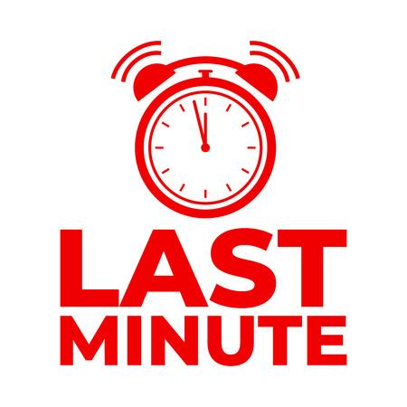 Last minute red clock icon label.