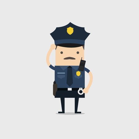 Police officer. Funny cop cartoon character.