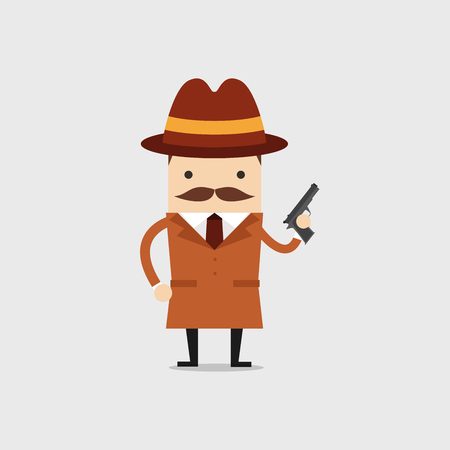 The detective holds a gun in his hand. Police detective and inspector cartoon.