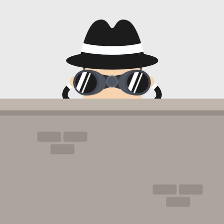 Detective character looking through binoculars behind the wall. spying, cartoon. Illustration