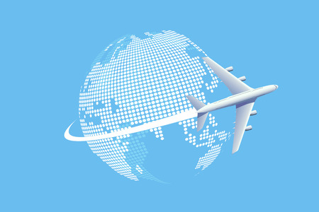 Plane flying over the World map.