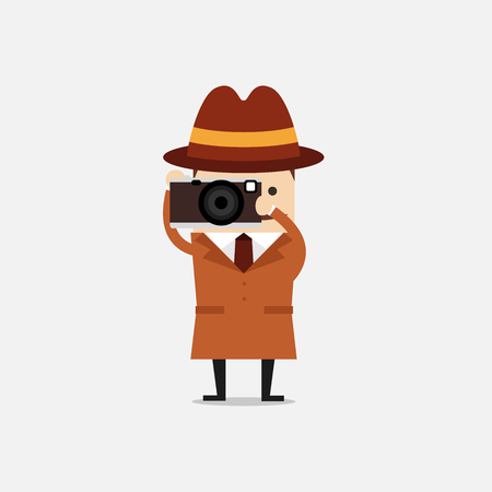 Detective with camera. Detective spies. Police detective and inspector cartoon.