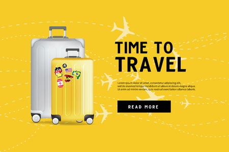 Le temps de voyager. Modèle de bannière de sac à bagages de voyage. Concept de voyage et de tourisme. Vecteurs