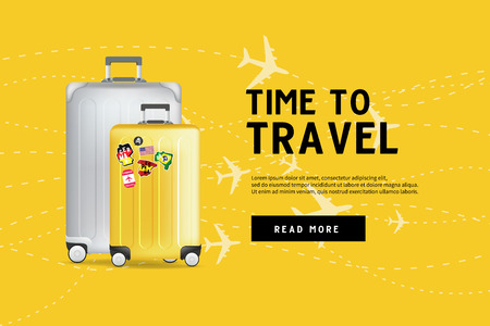 Time to travel. Traveling luggage bag banner template. Travel and tourism concept. Vectores