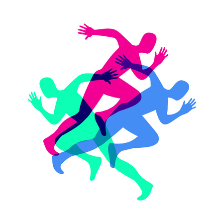 Silhouette of a running man. Sport colorful poster.