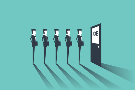 Businessmen waiting for job interview. Simple concept with working situation, recruitment or hiring. Stock Illustratie