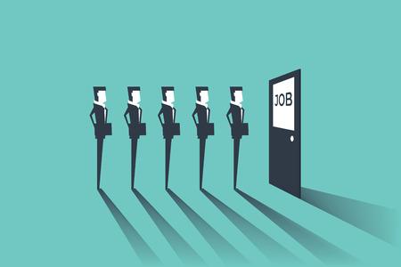 Geschäftsleute, die auf Vorstellungsgespräch warten. Einfaches Konzept mit Arbeitssituation, Rekrutierung oder Einstellung. Vektorgrafik