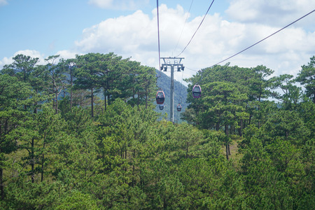 Dalat Cable Car, Route from Robin Hill to Truc Lam Monastery (Chua Truc Lam), at Robin Hill, Dalat, Vietnam.