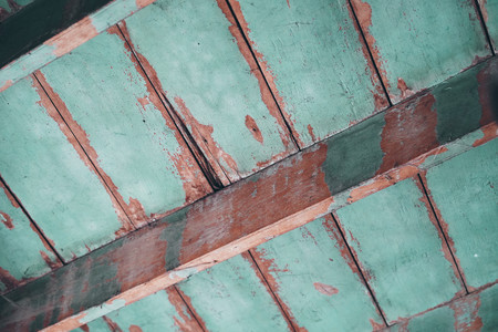 Wooden ceiling, old wood roof construction.