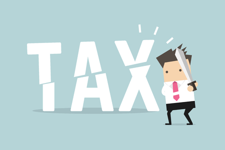 Businessman cut tax with sword. Business concept of reducing and lowering taxes. 免版税图像 - 126250270