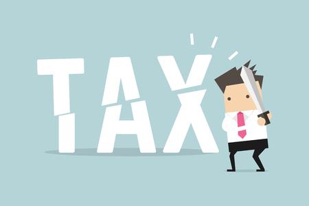 L'uomo d'affari ha tagliato le tasse con la spada. Concetto aziendale di riduzione e abbassamento delle tasse.