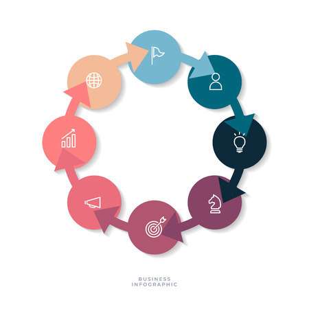 8 steps circle chart with business icon, Circle infographic or Circular diagram.