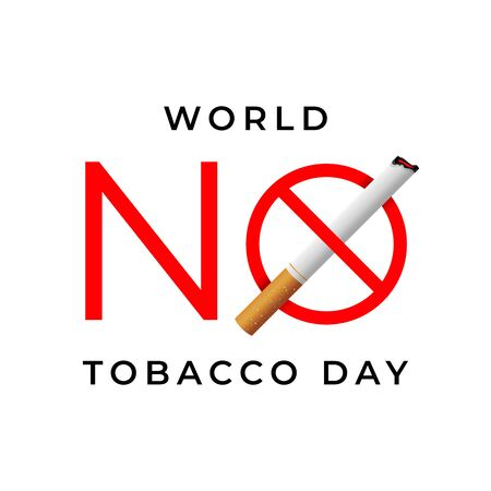 World no tobacco day sign isolated on white background. Ilustrace