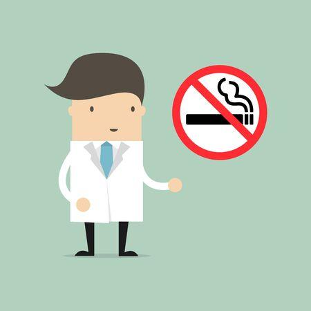 Doktor mit einem verbotenen Zigarettenzeichen Rauchverbotsschild. Vektorgrafik