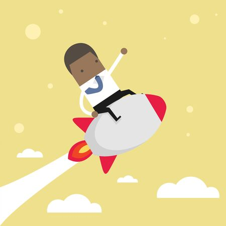 Startup Business. African businessman on a rocket. Stock Vector - 124967243