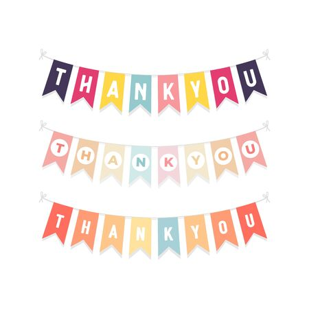 Cute bunting flags with letters Thank you isolated on white background.