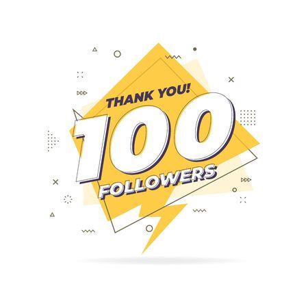Thank you 100 followers trendy flat geometric banner. Banco de Imagens - 124965442