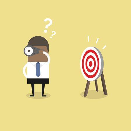 Afrikaanse zakenman zoekt doelwit in verkeerde richting. Vector Illustratie