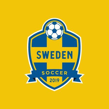 Sweden flag championship soccer crest.