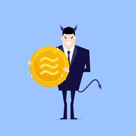 Devil businessman holding Libra coin in hand.