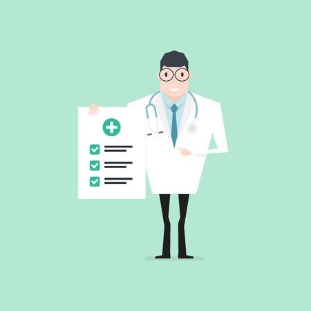 Arzt, der ein Check-up-Papier hält und mit dem Zeigefinger zeigt. Gesundheits-Check.