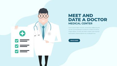 Doctor holding a check up paper and pointing by index finger. Health check up banner.