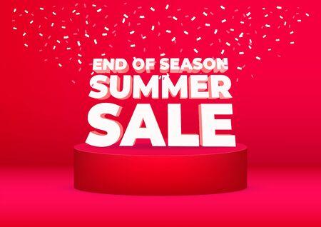 Progettazione di poster o volantini di vendita estiva di fine stagione. Saldi estivi di fine stagione su sfondo rosso.