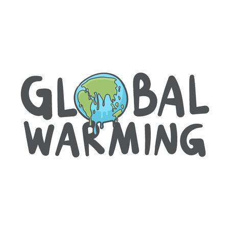 Global warming, Earth globe melting hand drawn doodle icon. Foto de archivo - 129962450