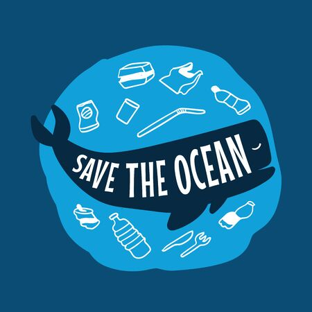 Stop ocean plastic pollution. Save the ocean. Whale.