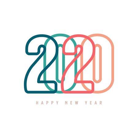 Colorful Happy New Year 2020 Text Design. Foto de archivo - 129962454