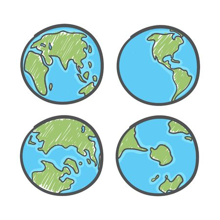 Earth drawing on white background. World map or globe in doodles style. Global drawing Earth day. Foto de archivo - 129962471